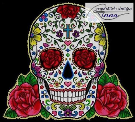 sugar skull  red roses sampler cross stitch
