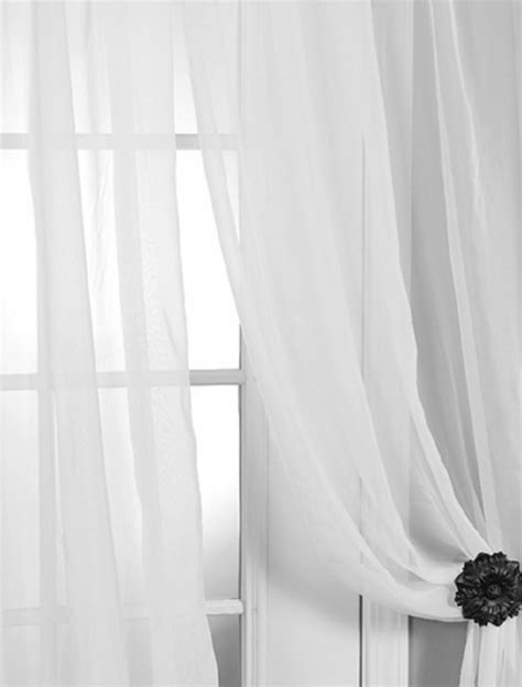 Solid White Voile Poly Sheer Curtain - Contemporary