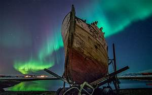 Aurora Borealis Northern Lights Lake Boat Night HD ...