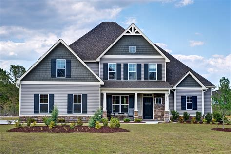 Stratton C Exterior Craftsman Style Home Cool Colors