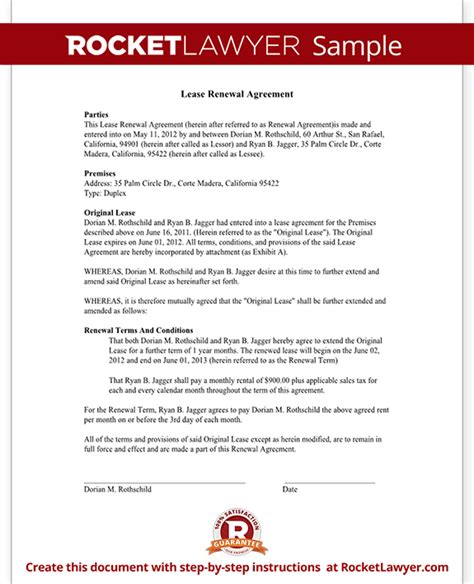 tenancy agreement renewal template lease renewal letter agreement lease extension rocket lawyer