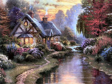 Kinkade Cottage Paintings by Cottage Evening Kinkade Charming Castles