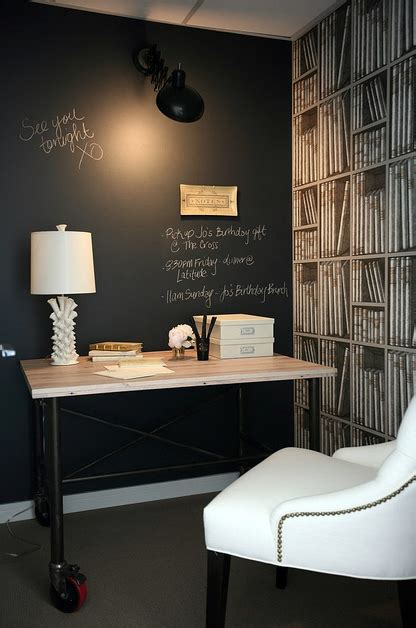 chalkboard accent wall contemporary denlibraryoffice