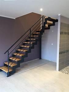 Marche Bois Escalier : escalier m tal marches bois ~ Premium-room.com Idées de Décoration