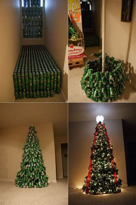 diy christmas tree made of soda cans