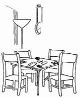 Coloring Table Dining Colouring Printable Bridge Popular Coloringhome sketch template