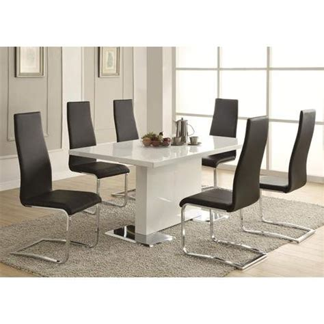 modern dining  piece white table black upholstered