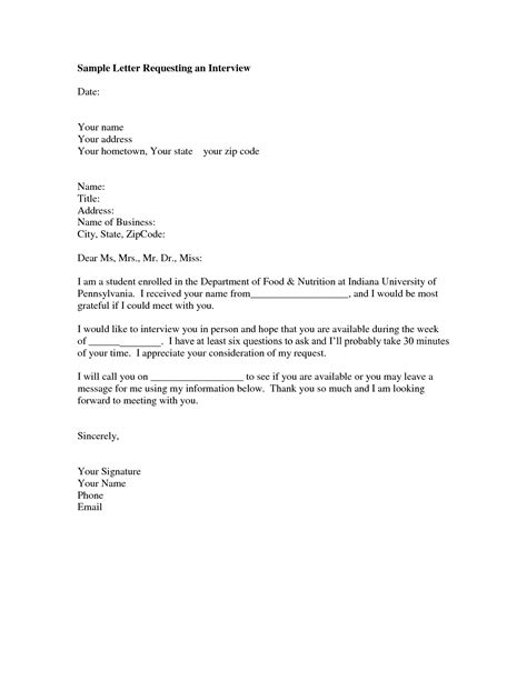 interview request letter sample format   letter
