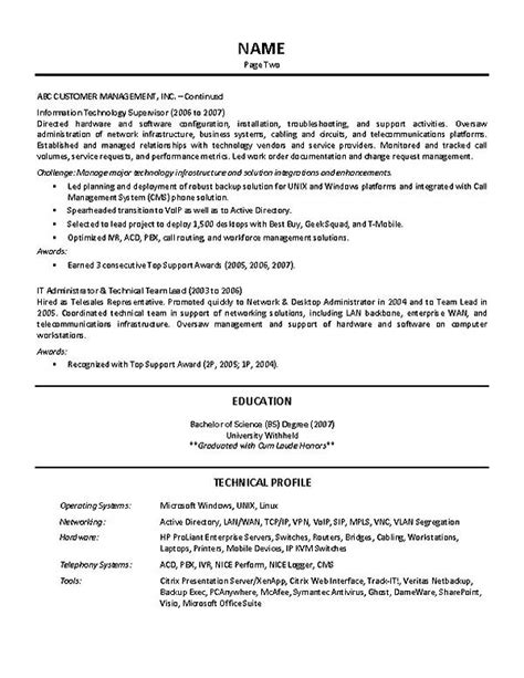 Resume For Team Leader Position by It Supervisor Resume Exle