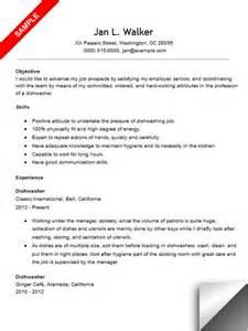 dishwasher resume description dishwasher resume sle
