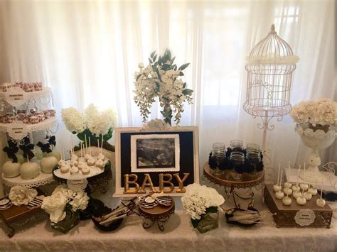 shabby chic baby boy shower ideas black and white shabby chic baby shower dessert table treats baby shower ideas themes games