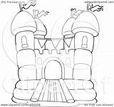 Castle Bounce Coloring Clipart Pages Bouncy Drawing Outline Vector Template Printable Lineart Illustration Getcolorings Getdrawings sketch template