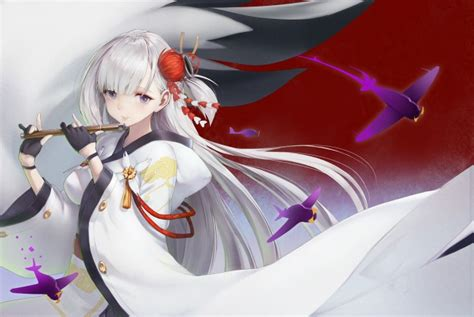 wallpaper azur lane shoukaku white hair flute