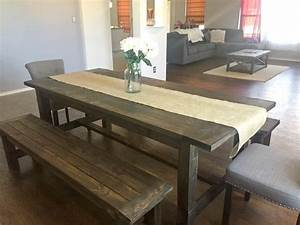 Ana White Farmhouse Dining Room Table With Benches