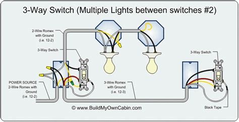 3 way switch diagram lights between switches