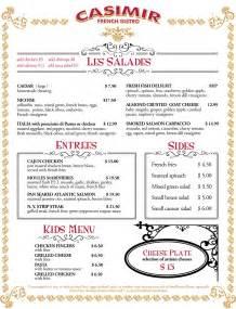 French Restaurant Lunch Menus