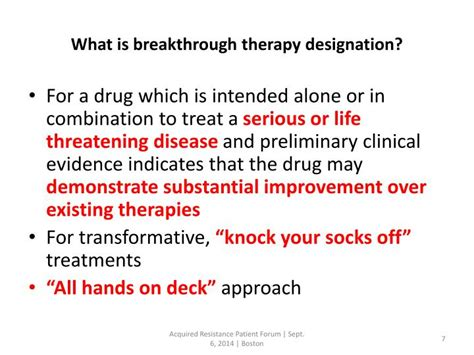 breakthrough therapy designation ppt acquired resistance patient forum powerpoint