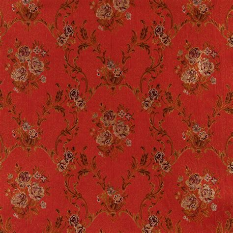 Drapery Fabric By The Yard by A0014g Brown Gold Ivory Floral Brocade Upholstery