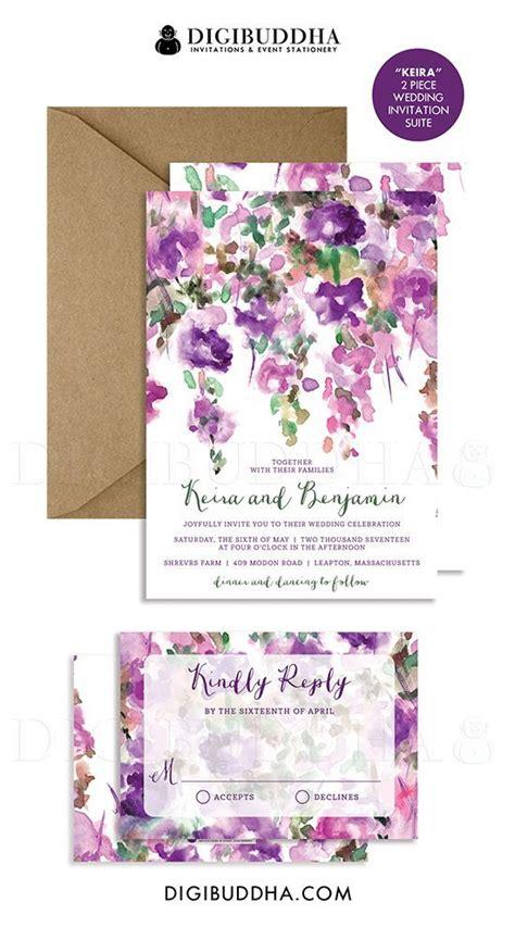 purple flowers wedding invitation rsvp whimsical floral