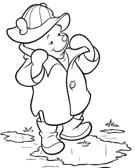 disney cartoon winnie  pooh wear jacket coloring picture