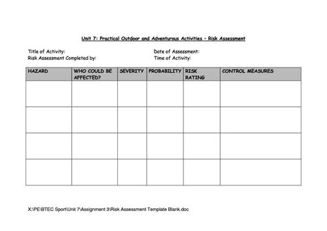 classroom risk assessment template sampletemplatess