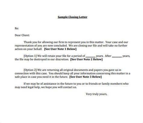 sample closing business letters sample templates