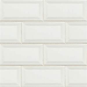 MS International Subway 3 x 6 Beveled White Glossy