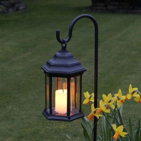 outdoor battery flickering candle lantern with timer
