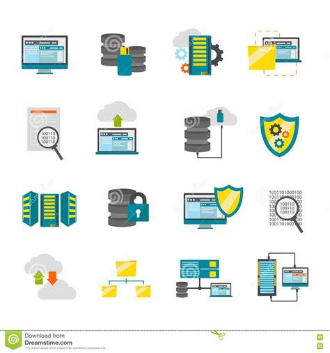 flat datacenter icon set stock vector image