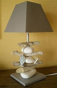 Lampe Chevet Bois Flotté : lampe bois flott et galets photo de lampes la belle au bois flotte ~ Teatrodelosmanantiales.com Idées de Décoration