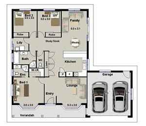 bedroom house plans homestead double garage construction plans  sale ebay