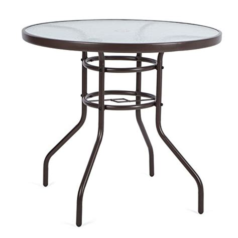 glass top patio table luckup 32 quot patio outdoor dining table tempered glass top