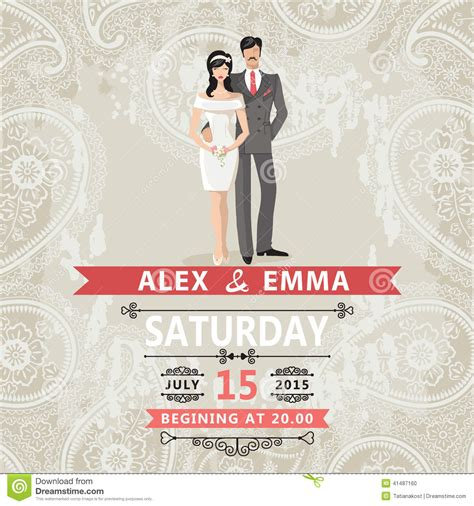 retro couple bride  groomwedding invitation