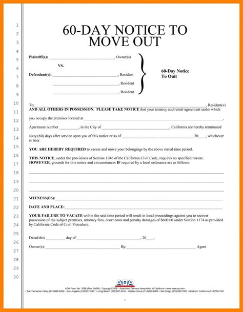 free oregon 60 day notice to vacate form 60 day notice to vacate form resume sles oregon free