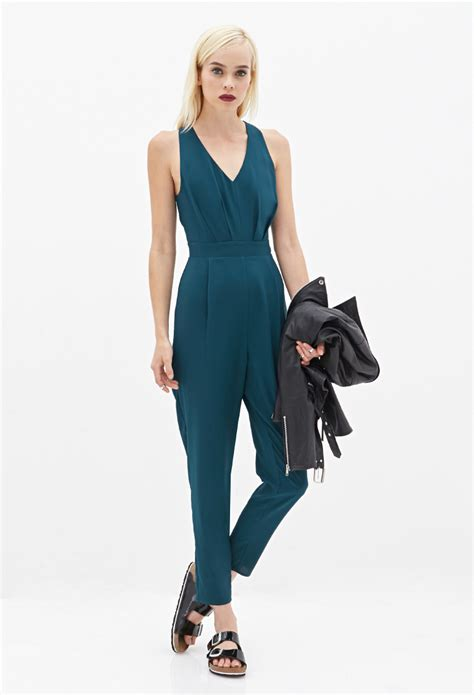 jumpsuit forever 21 forever 21 cutout pleated jumpsuit in green lyst