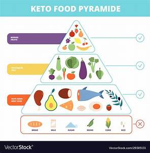 Keto Food Nutrition Pyramid Low Carb Foods Vector Image On