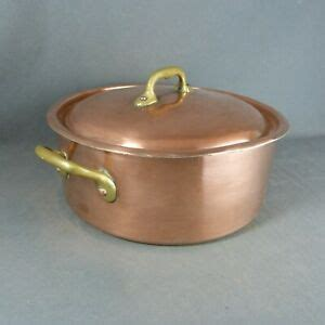 french dehillerin vintage copper cooking stock pot tin lined brass handles lid ebay