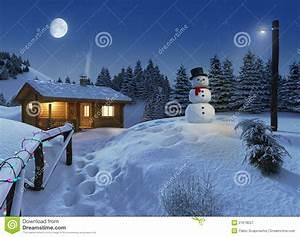 Log House In A Winter Christmas Scene Stock Illustration ...