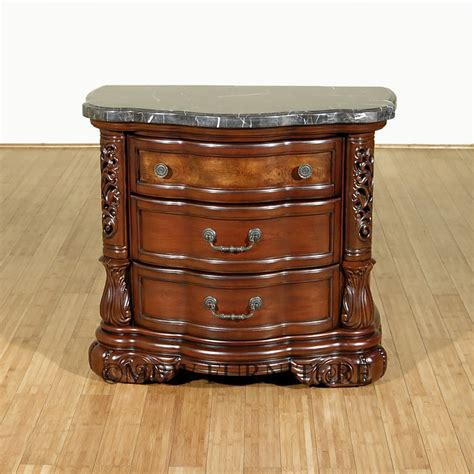 marble top nightstand fruitwood rococo 3 drawer marble top nightstand side table ebay
