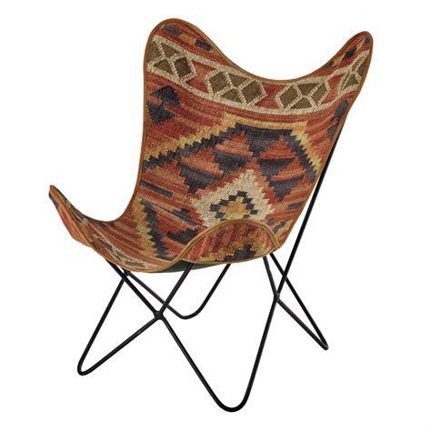 deco chambre fille papillon fauteuil en kilim multicolore kilim maisons du monde