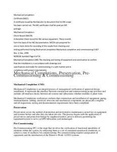 Mechanical Completion Certificate Form