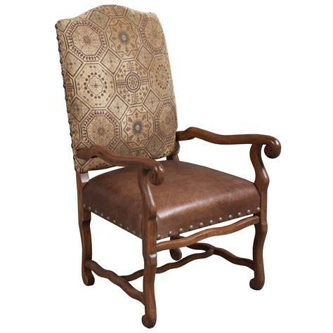 traditional  leather side chair brown national