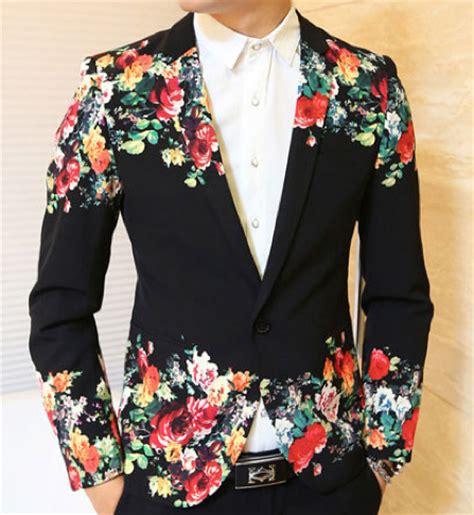 Artsy Cool Guy Floral Print Black Blazer