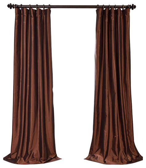 copper brown blackout faux silk taffeta curtain single