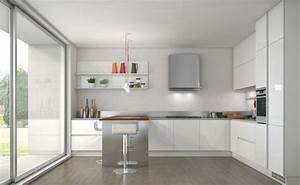 cuisine blanche contemporaine en 75 jolies photos With cuisine blanche et inox