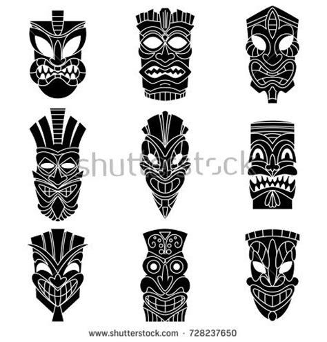 Tiki Totem Templates by Vector Tiki Masks Stock Vector 106430249 Shutterstock