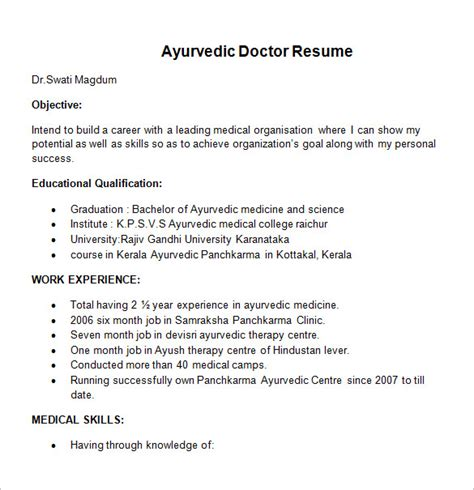 Resume Format For Doctors Bams by Doctor Resume Templates 15 Free Sles Exles