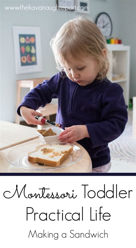 practical life  toddlers making  sandwich