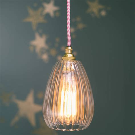 molly handmade ribbed glass pendant light by glow lighting