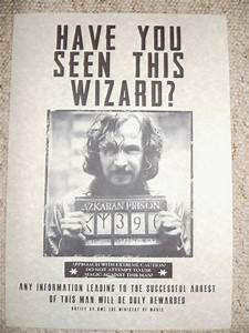 Harry Potter Hogwarts Films Sirius Black Wanted Poster ...